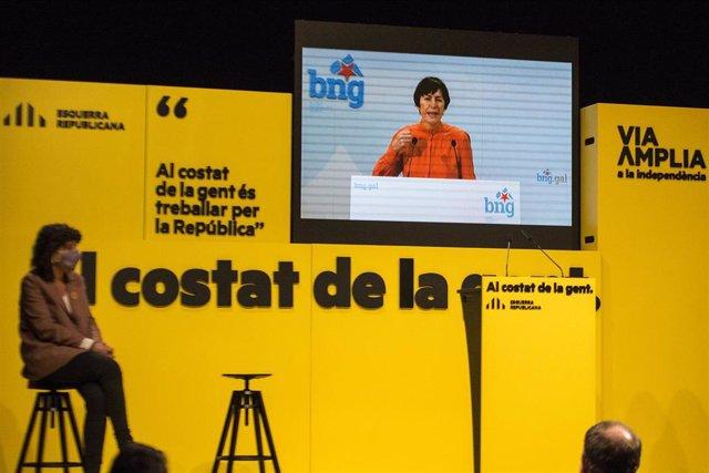 Archivo - La portavoz nacional del BNG, Ana Pontón interviene por videoconferencia durante un acto central de campaña electoral en Girona, Cataluña (España), a 7 de febrero de 2021.