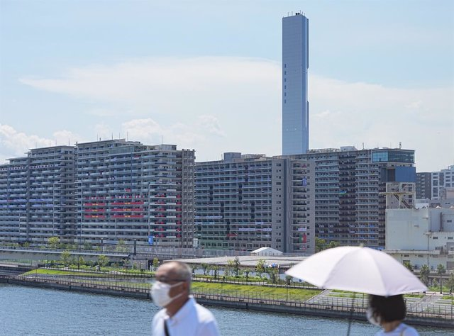 22 July 2021, Japan, Tokyo: A view of the buildings from the Olympic Village, a housing development that will house the participants of the 2020 Olympic Games. A day before the Olympics officially open, organizers reported 12 coronavirus cases linked to t