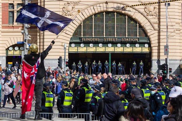 Protestas contra las restricciones en Melbourne
