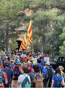 Imatge d'un tram de la 'Travessia per la llibertat' que recorre l'exconseller de la Generalitat Jordi Turull