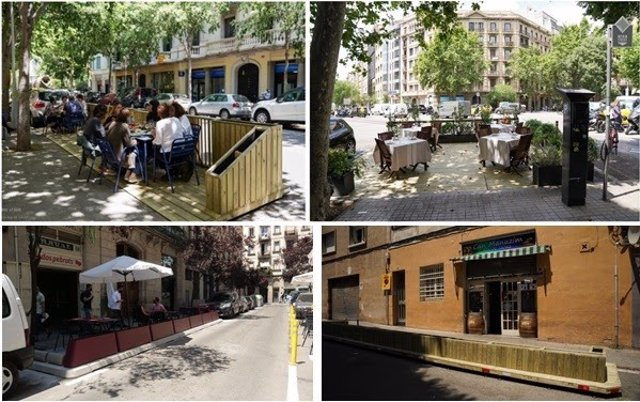 Imagen de los nuevos espacios para terrazas en calzadas de Barcelona