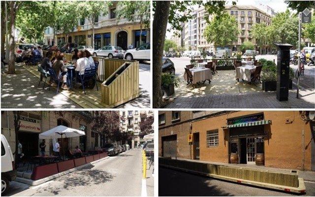 Imatge dels nous espais per a terrasses en calçades de Barcelona