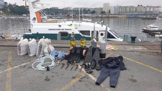 Incautados máis de 130 quilos de percebe, dous equipos de mergullo e unha embarcación de mergullo en Camariñas no marco dunha operación contra o furtivismo