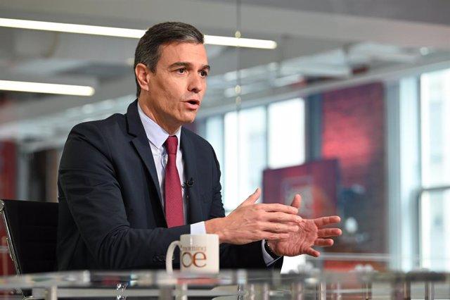 El presidente del Gobierno, Pedro Sánchez, durante la entrevista en el programa 'Morning Joe', en MSNBC.