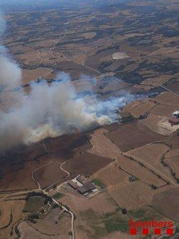 Imatge d'un incendi a Santa Coloma de Queralt (Tarragona)