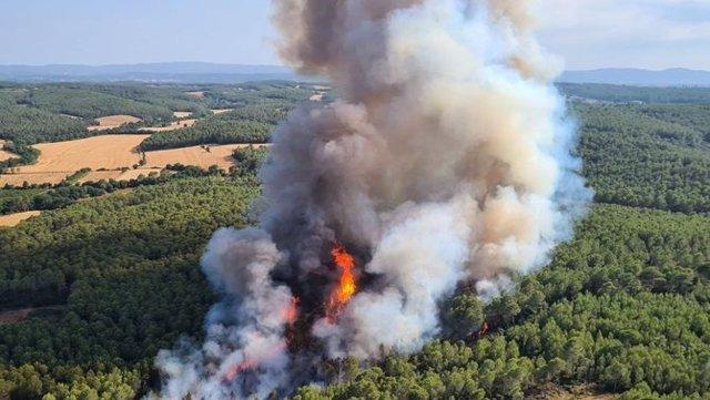 Los Bombers trabajan un incendio forestal en Ventalló (Girona)