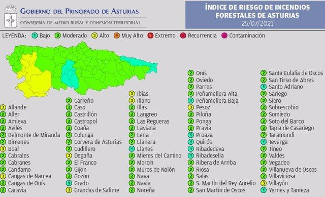 Mapa de riesgo de incendios por municipios para este domingo 25 de julio