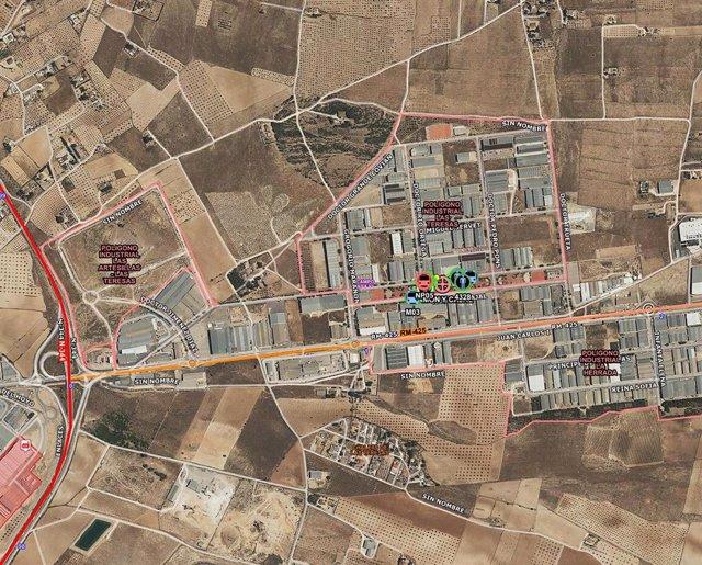 Localización en la que ha tenido lugar el incendio, sobre el mapa
