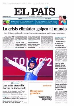 Portada de El País para el domingo 25 de julio.