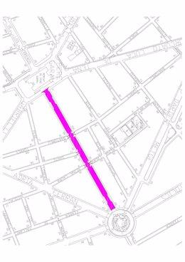 Ámbito de la calle Arquebisbe Aspàreg, donde este lunes empiezan las tareas de asfaltado.