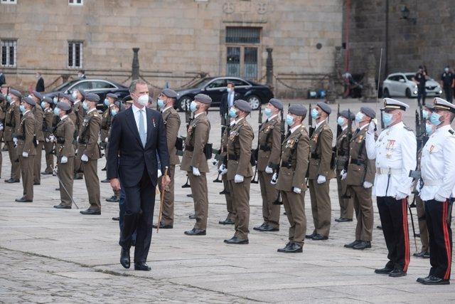 El rey Felipe VI, durante la festividad de Santiago Apóstol y Día Nacional de Galicia, conocido como Día da Patria, en la Plaza del Obradoiro, a 25 de julio de 2021, en Santiago de Compostela, A Coruña (España).