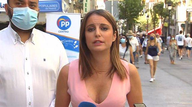 La presidenta del Comité de Derechos y Garantías del PP, Andrea Levy, en declaraciones a los medios este domingo 25 de julio en Madrid