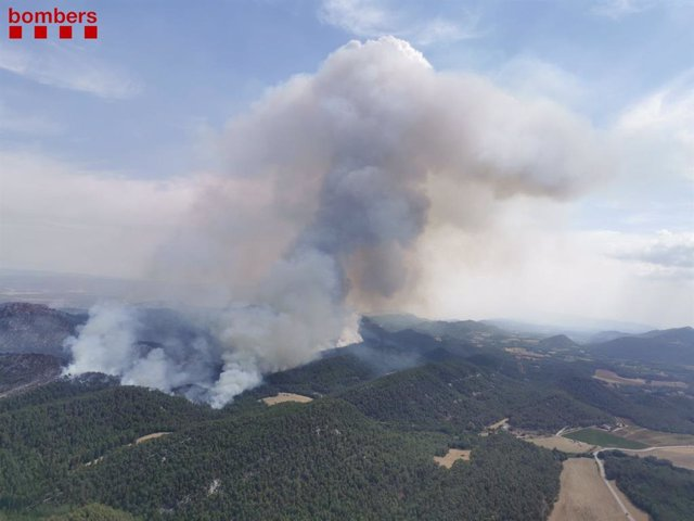 Imatge de l'incendi de Santa Coloma de Queralt (Tarragona)