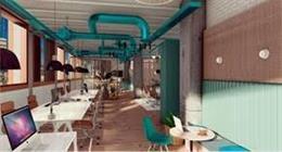 Un dels espais  de treball reformats per Psquared a Barcelona