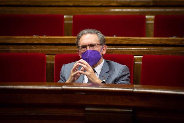 El conseller de Economía de la Generalitat, Jaume Giró, durante un Pleno en el Parlament de Catalunya, a 22 de julio de 2021, en Barcelona, Catalunya (España). La sesión de hoy es una continuación de las de ayer y el martes 20. En el pleno de este miércol