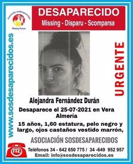 Cartel alertando de la desaparición de Alejandra Fernández Durán