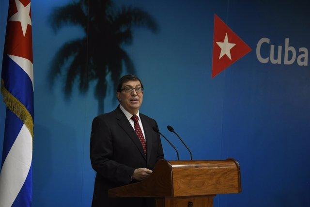 El ministro de Relaciones Exteriores de Cuba, Bruno Rodríguez, ofrece una conferencia de prensa en La Habana.