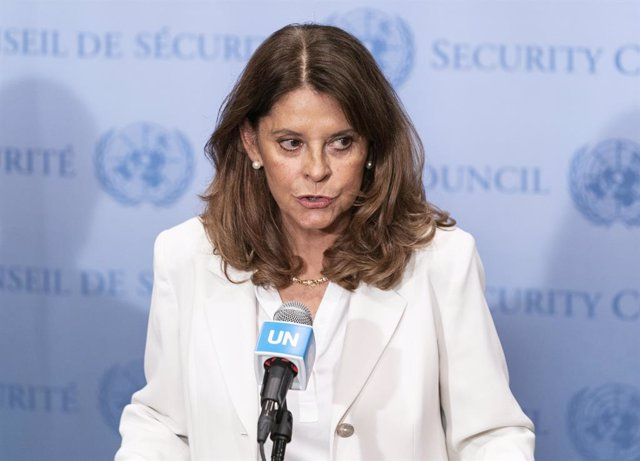 13 July 2021, US, New York: Colombian Vice-President and Foreign Minister Marta Lucia Ramirez speaks during a press conference after the Security Council meeting on Colombia at UN Headquarters. Photo: Lev Radin/ZUMA Wire/dpa