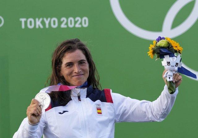 La palista española Maialen Chourraut con su medalla de plata en los Juegos Olímpicos de Tokio