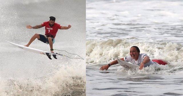 Los campeones olímpicos de surf en los Juegos Olímpicos de Tokyo 2020; el brasileño Italo Ferreira y la estadounidense Carissa Moore