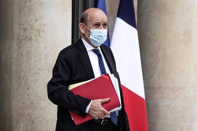 Archivo - El ministro de Exteriores de Francia,  Jean-Yves Le Drian