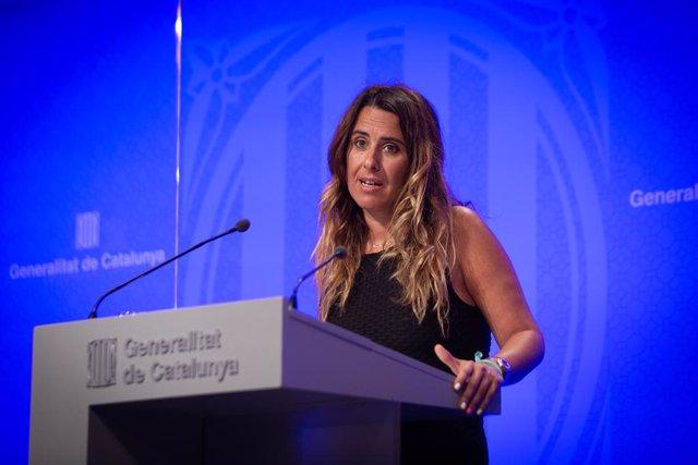 La portaveu del Govern, Patrícia Plaja, en la roda de premsa posterior al Consell Execuitu
