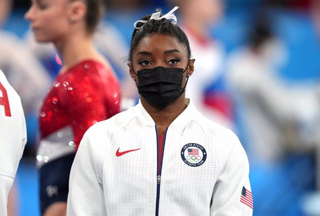 27 July 2021, Japan, Tokyo: USA's Simone Biles is seen after withdrawing following he first rotation of the Women's Team Artistic Gymnastics Final at the Ariake Gymnastics Centre, during the Tokyo 2020 Olympic Games. Photo: Martin Rickett/PA Wire/dpa
