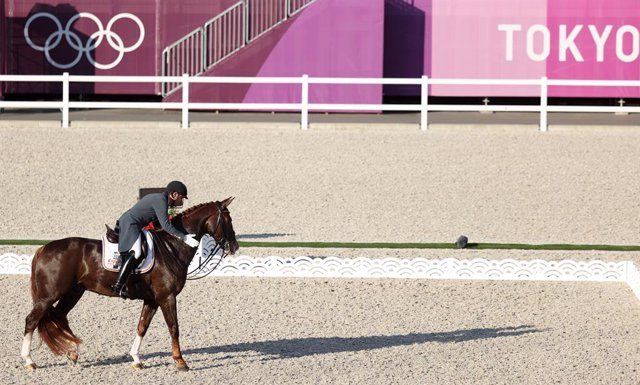 27 July 2021, Japan, Tokyo: Severo Jurado Lopez from Spain on Fendi T in action during the Dressage Team Grand Prix final event at the Equestrian Park as part of the Tokyo 2020 Olympic Games. Photo: Friso Gentsch/dpa