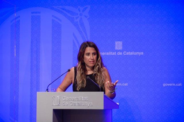 La portaveu del Govern, Patrícia Plaja, en la roda de premsa posterior al Consell Executiu
