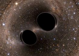 Colisión de agujeros negros liberando ondas gravitacionales