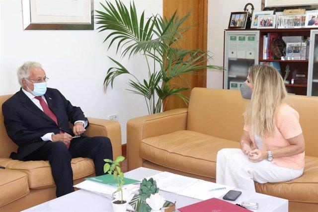 La delegada de la Junta de Andalucía en Cádiz, Ana Mestre, durante la reunión con el Defensor del Pueblo Andaluz, Jesús Maeztu.