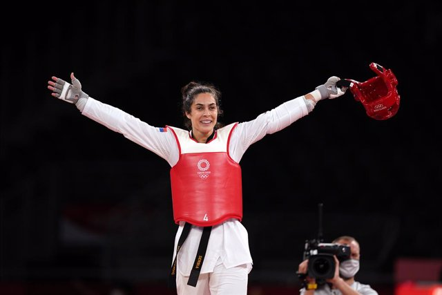 27 July 2021, Japan, Chiba: Serbia's Milica Mandic reacts after defeating South Korea's Lee Da Bin in the Women's +67kg Gold Medal Taekwondo Contest at Makuhari Messe Hall A, during the Tokyo 2020 Olympic Games. Photo: Mike Egerton/PA Wire/dpa