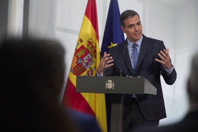 Imatge de recurs del president del Govern, Pedro Sánchez, després d'intervenir en la presentació de la Carta de Drets Digitals, en La Moncloa, a 14 de juliol de 2021, a Madrid (Espanya).