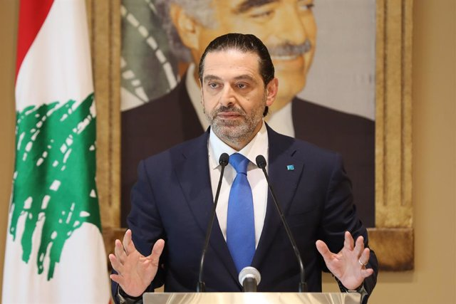HANDOUT - 27 July 2021, Lebanon, Beirut: Lebanese former Primer Minister Saad Hariri speaks during a press conference after a meeting with MPs from The Future Movement. Photo: -/Dalati & Nohra/dpa - ATTENTION: editorial use only and only if the credit men