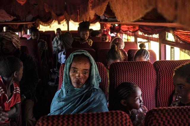 Archivo - Refugiados de la región etíope de Tigray.