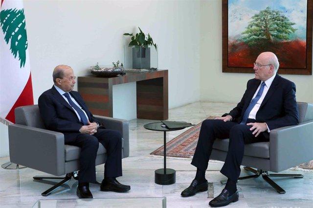 El presidente de Líbano, Michel Aoun, y el primer ministro de Líbano, Nayib Mikati.