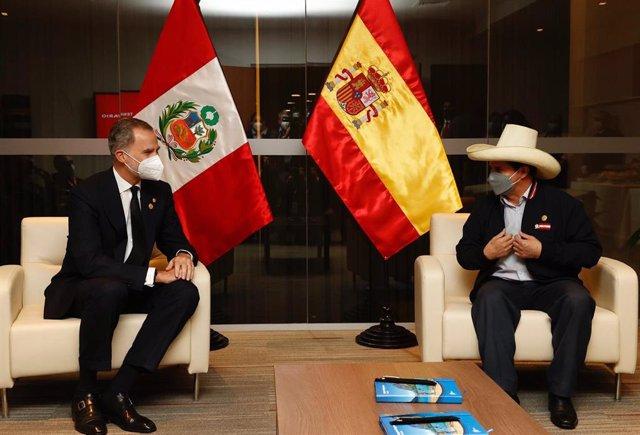 El rey de España, Felipe VI, se reúne con el presidente electo de Perú, Pedro Castillo, en la víspera a la toma de posesión de este.