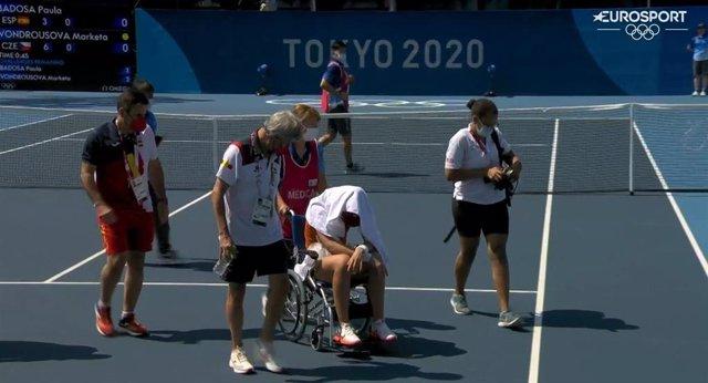 Paula Badosa se retira en cuartos de final del torneo olímpico de tenis Tokyo 2020