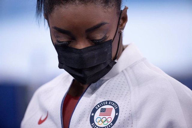 27 July 2021, Japan, Tokyo: USA's Simone Biles is seen after withdrawing following he first rotation of the Women's Team Artistic Gymnastics Final at the Ariake Gymnastics Centre, during the Tokyo 2020 Olympic Games.