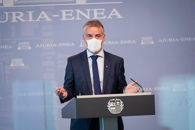 El Lehendakari, Iñigo Urkullu, durante una rueda de prensa posterior a la reunión del Consejo asesor del LABI, a 22 de julio de 2021, en Vitoria, Álava, Euskadi (España).