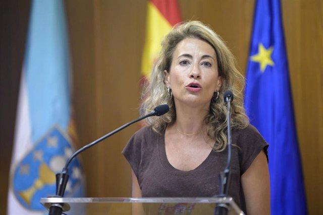 La ministra de Transportes, Movilidad y Agenda Urbana, Raquel Sánchez, presenta los nuevos descuentos para los peajes de la autopista del Atlántico, AP-9 , a 26 de julio de 2021, en la delegación del Gobierno en A Coruña, Galicia, (España). La presentació