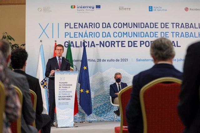 Feijóo interviene en el plenario de la Comunidade de Traballo con el Norte de Portugal.