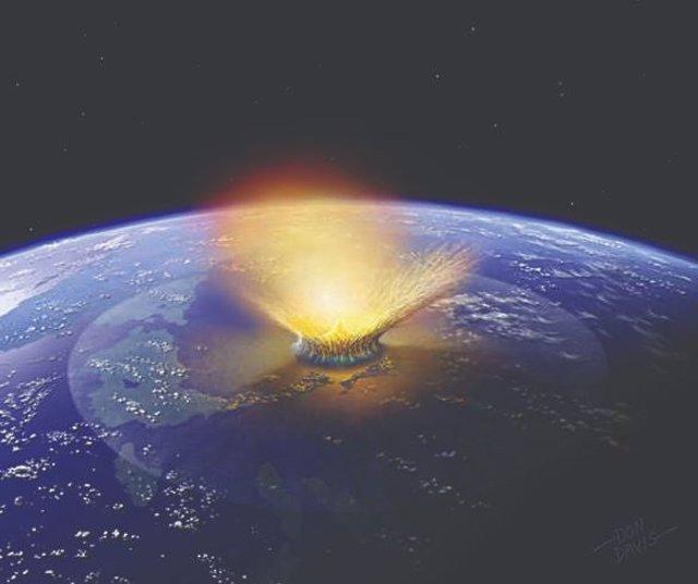 Ilustración del mpacto de jun gran asteroide contra la Tierra