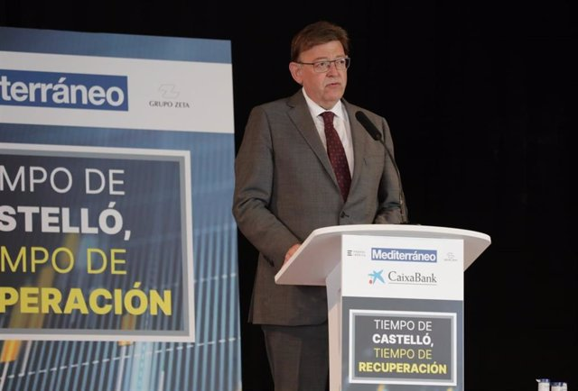 El president de la Generalitat, Ximo Puig, durant la conferència impartida en el marc del desdejuni empresarial 'Temps de Castelló, temps de recuperació',
