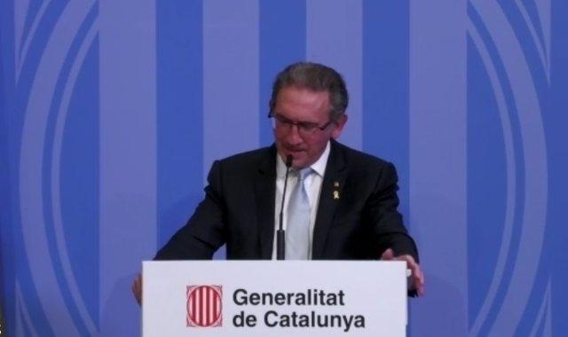 El conseller d'Economia i Hisenda de la Generalitat, Jaume Giró, en la roda de premsa