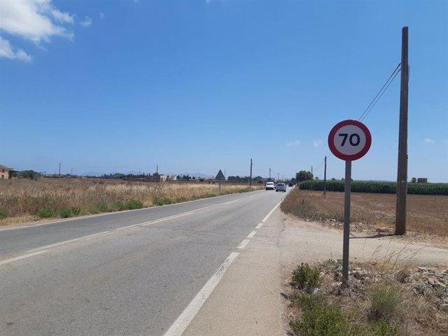 Limitación de velocidad a la entrada de Sa Pobla.