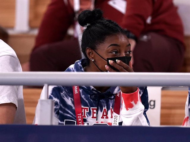28 July 2021, Japan, Tokyo: USA's Simone Biles watches the Men's Artistic Gymnastics All-Around Final from the stands at the Ariake Gymnastics Centre, during the Tokyo 2020 Olympic Games. Photo: Mike Egerton/PA Wire/dpa