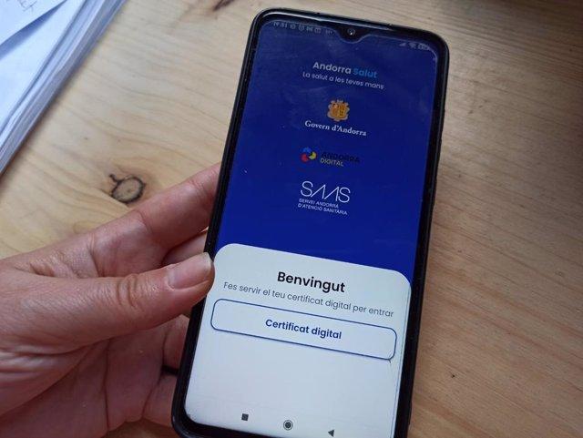 Pàgina d'accés a l'aplicació mòbil AndorraSalut