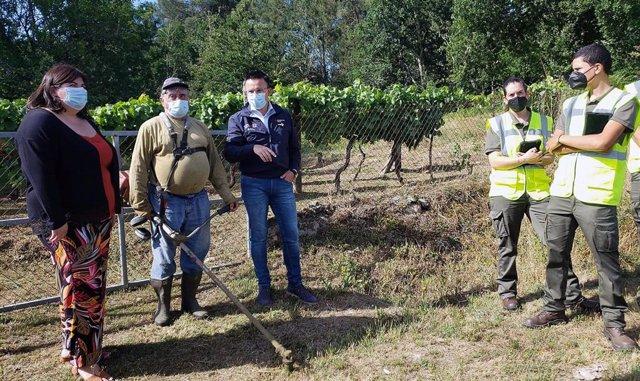 Visita del conselleiro de Medio Rural, José González, a Boborás para analizar la gestión de la biomasa