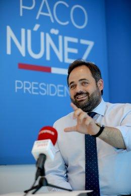 El presidente del PP de C-LM, Paco Núñez, en entrevista con Europa Press
